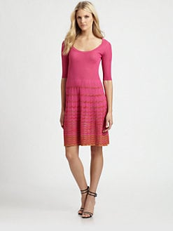 M Missoni - Two-Tone Wave-Stripe Dress