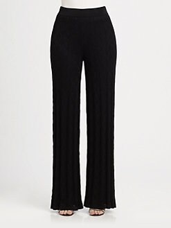 M Missoni - Solid Knit Wide-Leg Pants