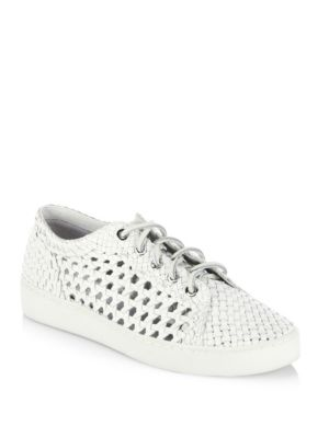 michael kors female  violet woven leather laceup sneakers