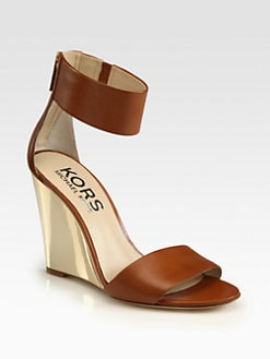 Kors Michael Kors - Rosalie Leather Ankle Strap Wedge Sandals