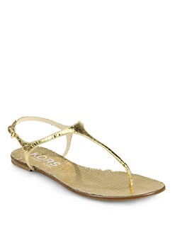 Kors Michael Kors - Joni Metallic Snake-Embossed Leather T-Strap Sandals