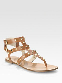 Kors Michael Kors - Jordyn Studded Leather T-Strap Sandals