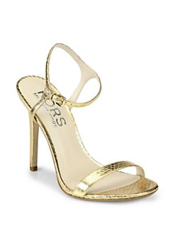 Kors Michael Kors - Mikaela Metallic Snake-Embossed Leather Sandals