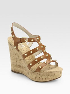 Kors Michael Kors - Kaida Studded Leather Cork Wedges