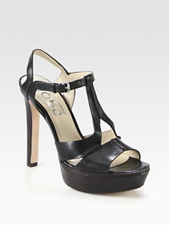 Kors Michael Kors - Brookton Leather T-Strap Platform Sandals