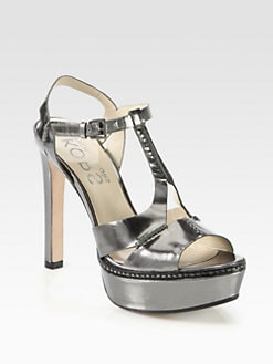 Kors Michael Kors - Brookton Metallic Leather T-Strap Platform Sandals