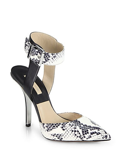 Alanna Snakeskin  Leather Ankle-Strap Pumps