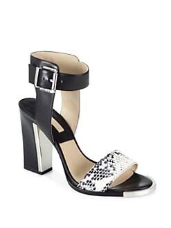 Michael Kors - Carson Snakeskin & Leather Sandals