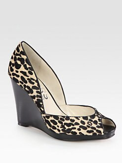 Kors Michael Kors - Vail Leopard-Print Calf Hair Wedge Pumps