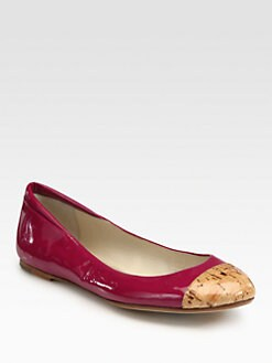 Kors Michael Kors - Odessa Patent Leather & Cork Ballet Flats