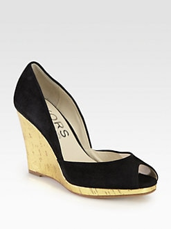 Kors Michael Kors - Vail Suede Metallic Cork Wedge Pumps