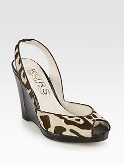 Kors Michael Kors - Vivian Leopard-Print Calf Hair Wedge Sandals