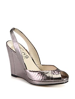 Kors Michael Kors - Vivian Snake-Print Metallic Leather Slingback Wedges