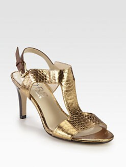Kors Michael Kors - Xyla Snake-Print Metallic Leather Sandals