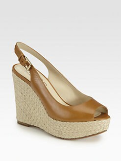 Kors Michael Kors - Keelyn Leather Raffia Wedge Sandals