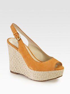 Kors Michael Kors - Keelyn Suede Raffia Wedge Sandals