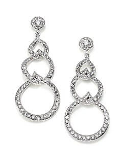 Adriana Orsini - Sterling Silver Pave Link Drop Earrings