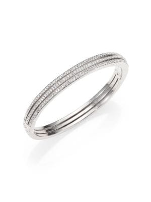Pavé Crystal Three-Row Bangle Bracelet/Silvertone