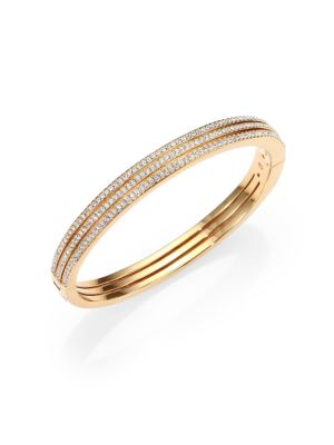 Pavé Crystal Three-Row Bangle Bracelet/Goldtone