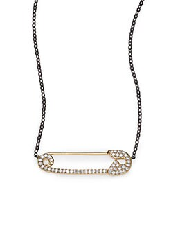 Adriana Orsini - Sterling Silver Pave Safety Pin Necklace