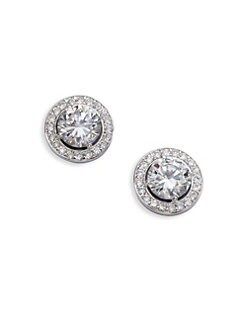 Adriana Orsini - Sterling Silver Round Framed Stud Earrings