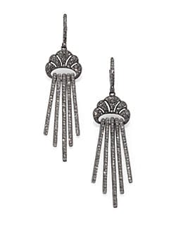 Adriana Orsini - Pave Crystal Linear Drop Earrings/Blackened Silvertone
