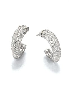 Adriana Orsini - Pavé Crystal Edged Hoop Earrings