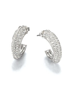 Adriana Orsini - Pav&eacute; Crystal Edged Hoop Earrings