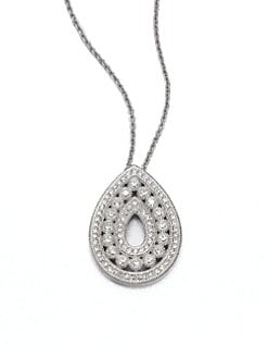 Adriana Orsini - Pavé Crystal Open Teardrop Pendant Necklace