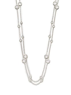 Adriana Orsini - Long Double-Row Station Necklace/Rhodium