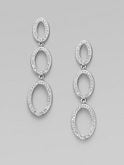 Adriana Orsini - Crystal Encrusted Oval Drop Earrings