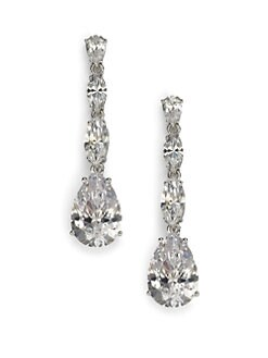 Adriana Orsini - Sterling Silver Pear Drop Linear Earrings