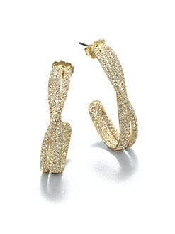 Adriana Orsini - Twisted Pave Crystal Hoop Earrings/Silvertone