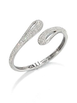 Adriana Orsini - Pavé Crystal Open Teardop Bangle Bracelet