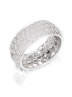 Adriana Orsini - Pave Crystal Fan Bangle Bracelet/Silvertone