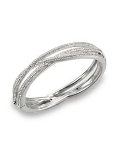 Adriana Orsini - Pave Crystal Intertwined Bangle Bracelet/Silvertone