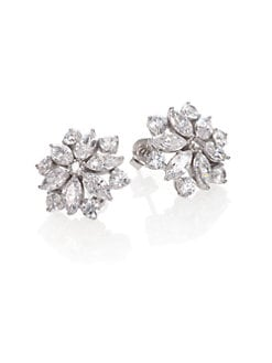 Adriana Orsini - Faceted Floral Sterling Silver Button Earrings