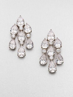 Adriana Orsini - Faceted Pear Chandelier Earrings/Silvertone