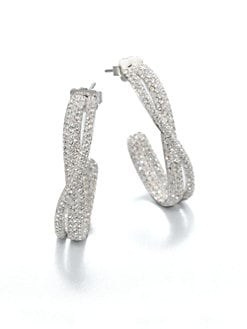 Adriana Orsini - Twisted Pave Crystal Hoop Earrings/Goldtone