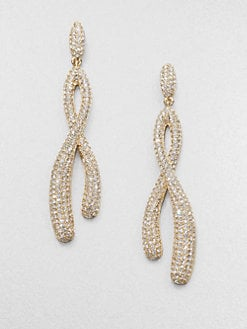 Adriana Orsini - Pav&eacute; Crystal Twisted Drop Earrings/Goldtone