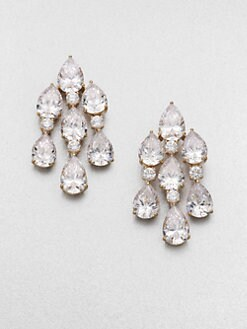 Adriana Orsini - Faceted Pear Chandelier Earrings/Goldtone