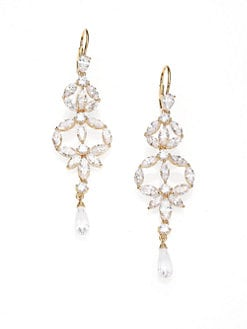 Adriana Orsini - Faceted Linear Chandelier Earrings/Silvertone