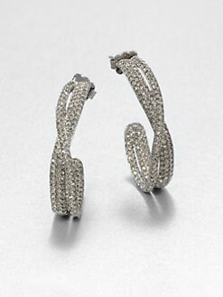 Adriana Orsini - Twisted Pavé Crystal Hoop Earrings/Hematite