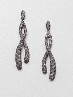 Adriana Orsini - Pavé Crystal Twisted Drop Earrings/Hematite