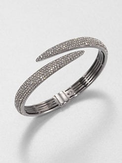 Adriana Orsini - Pavé Crystal Tail Bangle Bracelet/Hematite