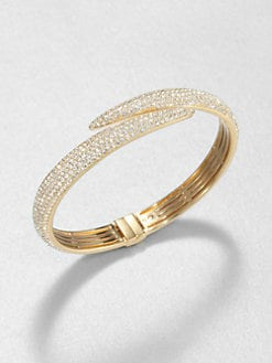 Adriana Orsini - Pave Crystal Tail Bangle Bracelet/Goldtone