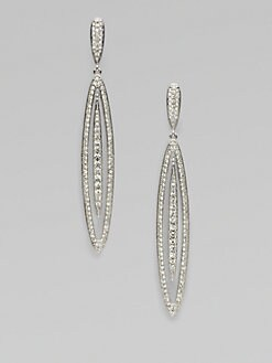 Adriana Orsini - Pavé Crystal Accented Stretched Oval Drop Earrings