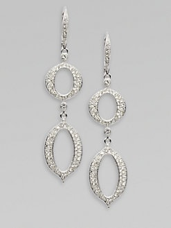 Adriana Orsini - Pavé Crystal Accented Pointed Oval Drop Earrings