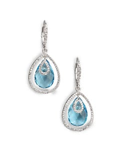Adriana Orsini - Faceted Framed Drop Earrings/Aqua