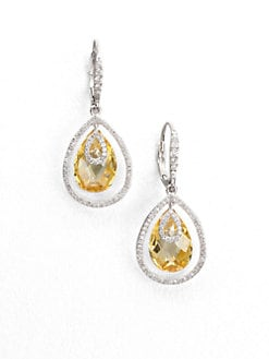 Adriana Orsini - Faceted Framed Drop Earrings/Canary